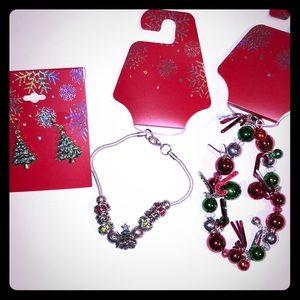 3 Item Christmas Bracelets & Earrings Lot NEW $40
